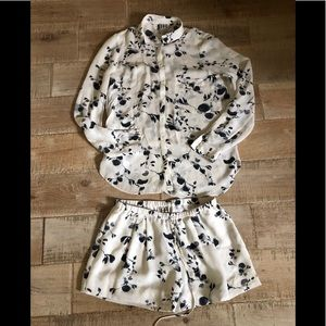 Haute Hippie silk watercolor floral shorts set S